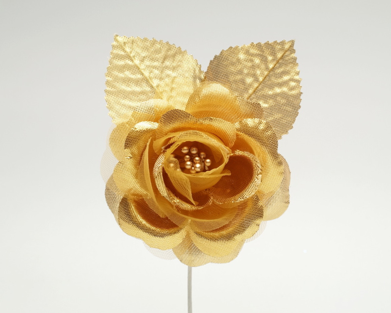 2 5 Gold Silk Single Rose Flowers Pack Of 12 Cb Flowers Crafts