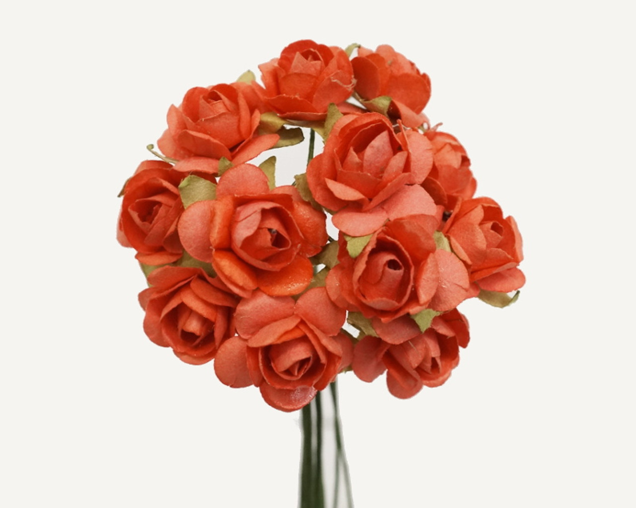12 Coral Small Rose Mulberry Craft Paper Flowers Pack Of 144