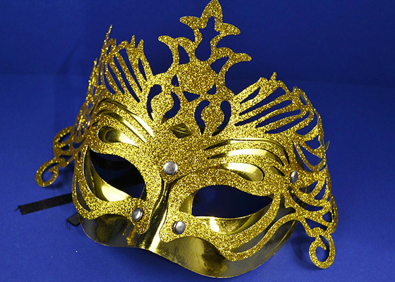 Rhinestone Design Gold Mardi Gras Masquerade Mask