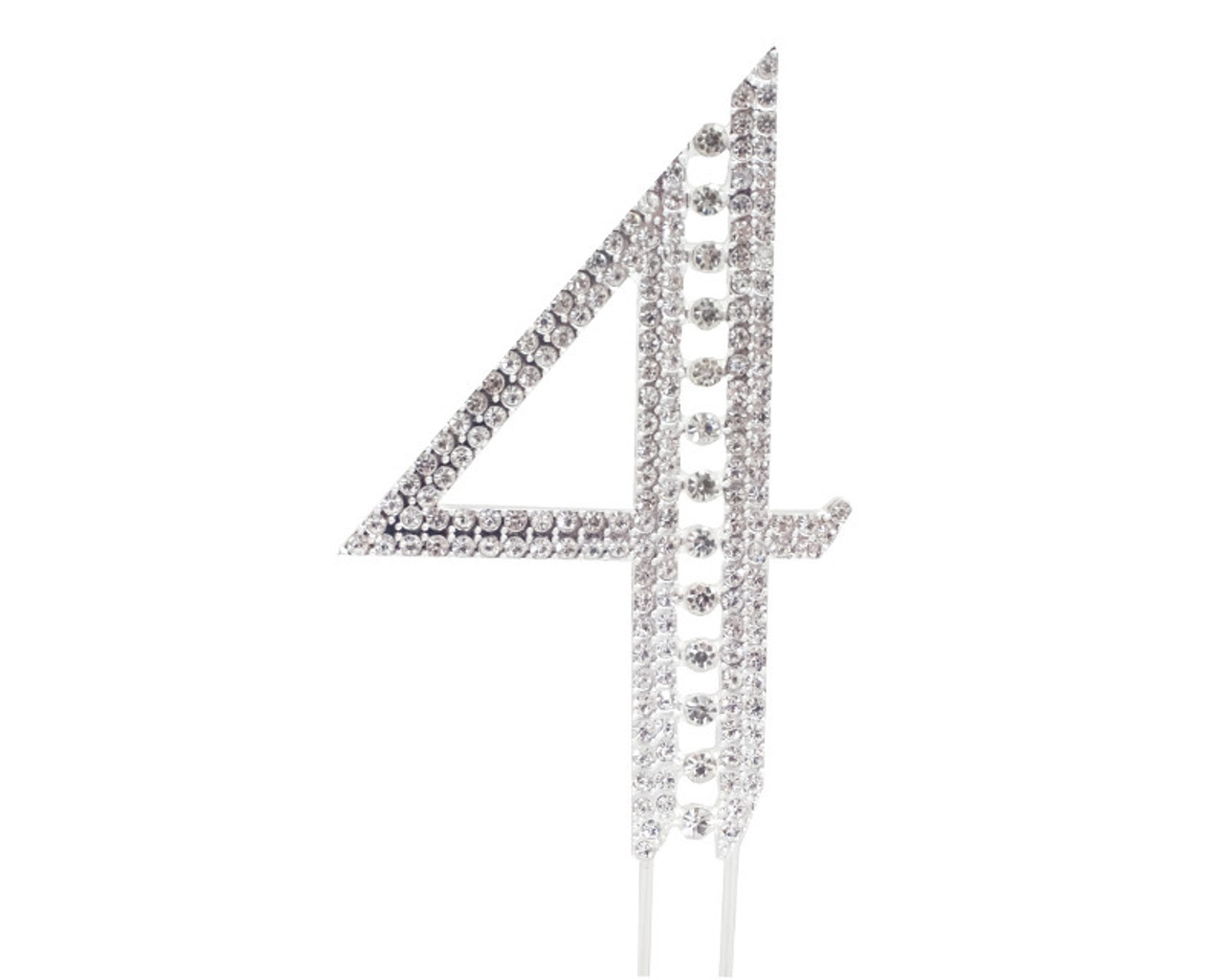 089c6d44 Silver Rhinestone Studded Cake Topper Number 4 - Pack of 3 - CB Flowers &  Crafts