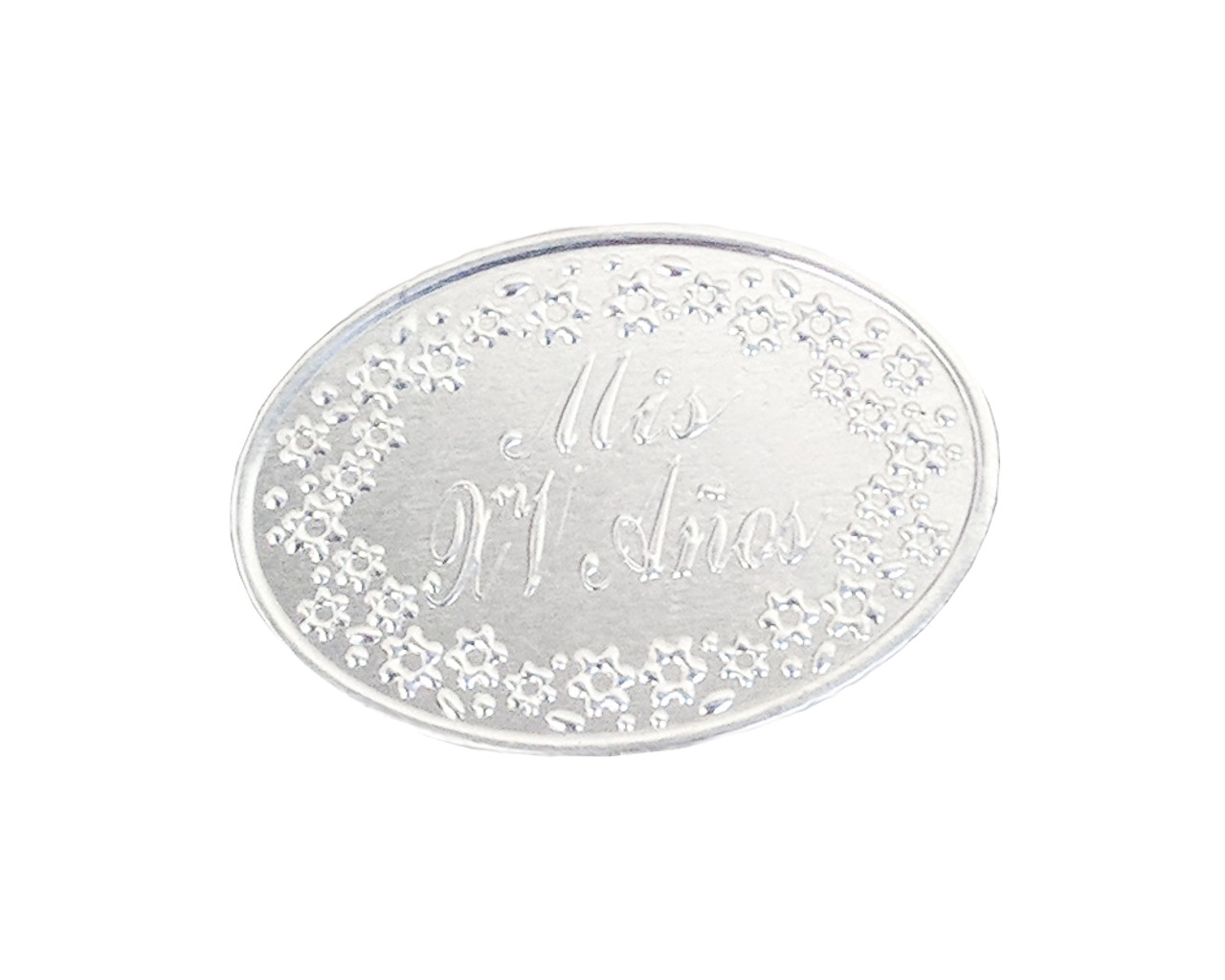 Mis Quince Anos Silver Embossed Foil Sticker - Pack of 144 Quinceanera  Stickers