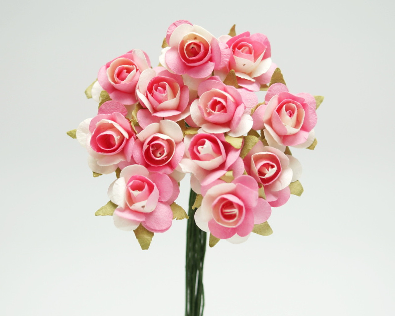 12 Pink Ivory Small Rose Mulberry Craft Paper Flowers Pack Of