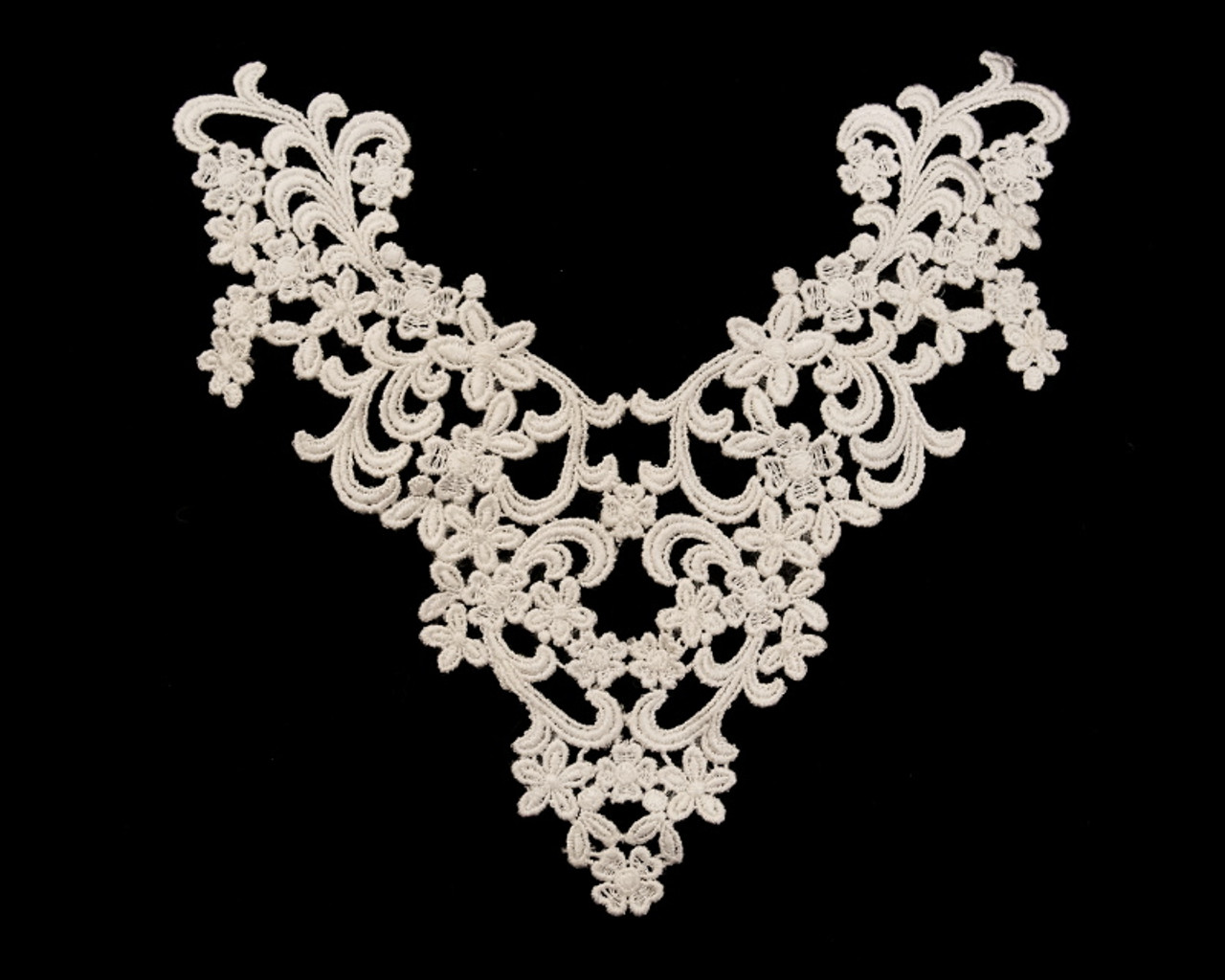 Quality bridal lace applique embroidered corded lace motif