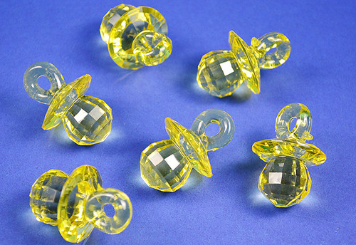 Yellow Transparent Acrylic Faceted Pacifiers - Bag of 0.55 pound