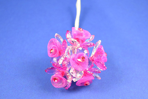 "1"" Fuchsia Organza Flowers with Acrylic Leaves and Rhinestone - Pack of 72 Pieces"