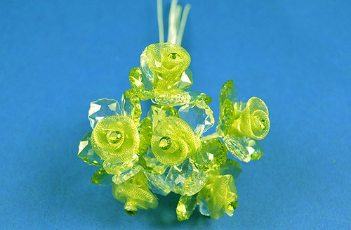"1.5"" Green Organza Flowers with Acrylic Leaves and Rhinestone - Pack of 36 Pieces"