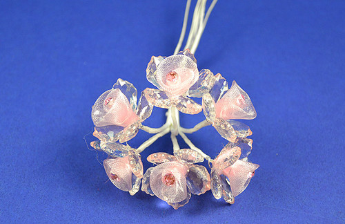 """1.5"""" Pink Organza Flowers with Acrylic Leaves and Rhinestone - Pack of 36 Pieces"""