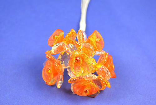 """1.5"""" Orange Organza Flowers with Acrylic Leaves and Rhinestone - Pack of 36 Pieces"""