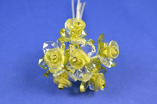 """1.5"""" Olive Organza Flowers with Acrylic Leaves and Rhinestone - Pack of 36 Pieces"""