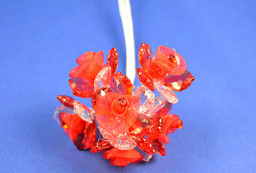"""1.5"""" Red Organza Flowers with Acrylic Leaves and Rhinestone - Pack of 36 Pieces"""