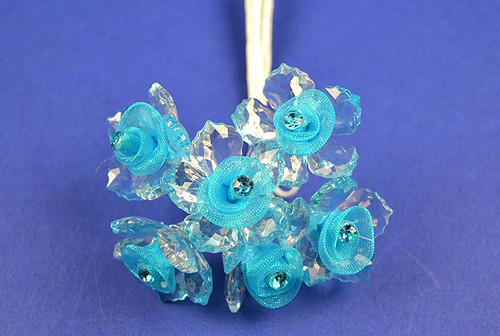 """1.5"""" Turquoise Organza Flowers with Acrylic Leaves and Rhinestone - Pack of 36 Pieces"""