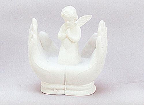 "3.5"" White Angel on Praying Hands Baptism Figurines"