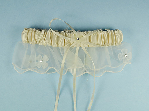 Ivory Bridal Wedding Satin Garter with Floral Organza Trim - Pack of 12 Pieces