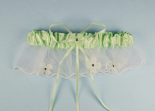 Mint Green Bridal Wedding Satin Garter with Floral Organza Trim - Pack of 12 Pieces