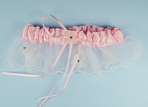 Pink Bridal Wedding Satin Garter with Floral Organza Trim - Pack of 12 Pieces