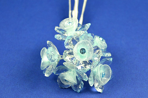 "1.5"" Blue Organza Flowers with Acrylic Leaves and Rhinestone - Pack of 36 Pieces"