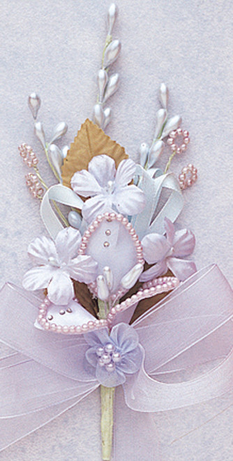 """7"""" Light Blue Silk Corsage Flowers with Rhinestone Leaf - Pack of 12"""