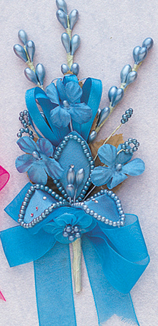 """7"""" Turquoise Silk Corsage Flowers with Rhinestone Leaf - Pack of 12"""
