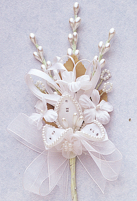 "7"" White Silk Corsage Flowers with Rhinestone Leaf - Pack of 12"
