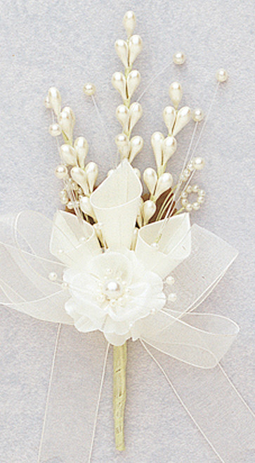 "7"" Ivory Silk Calla Lily Corsage Flowers - Pack of 12"
