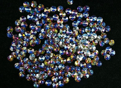 14mm Iridescent AB Blue Crystal Octagon Prism Beads - Pack of 200