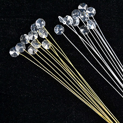 """12"""" Crystal Bouquet Accents - Pack of 100 Crystal Floral Picks"""