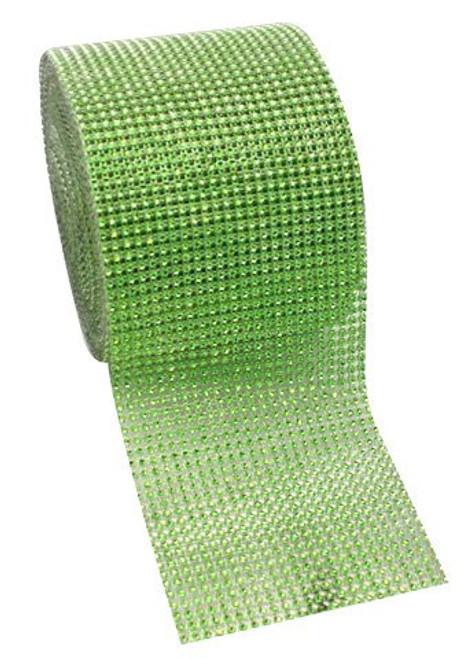 "4.5"" x 10 yards 24 Rows Apple Green Diamond Mesh Wrap"