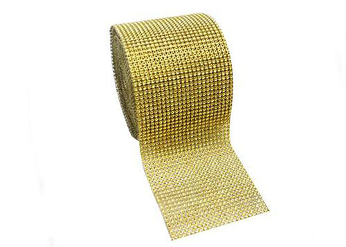 "4.5"" x 10 yards 24 Rows Gold Diamond Mesh Wrap"