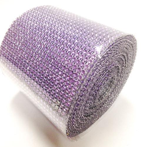 "4.5"" x 10 yards 24 Rows Lavender Diamond Mesh Wrap"