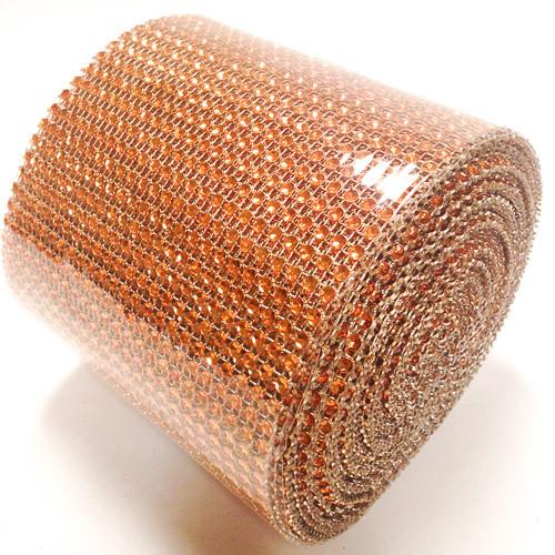 "4.5"" x 10 yards 24 Rows Orange Diamond Mesh Wrap"
