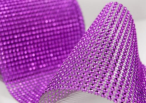 """4.5"""" x 10 yards 24 Rows Purple Diamond Mesh Wrap"""