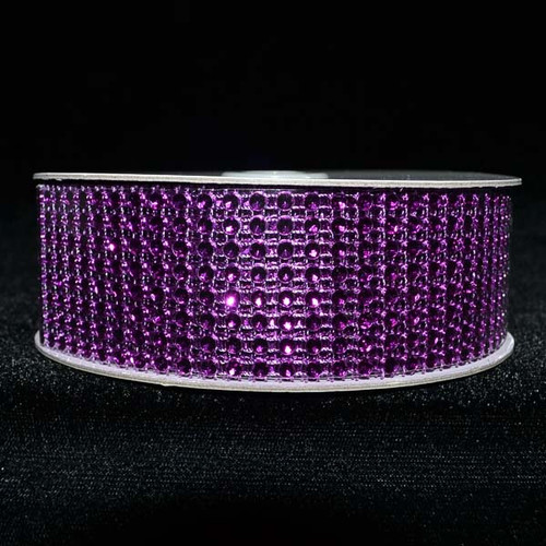 "1.5"" x 10 Yards Purple Diamond Mesh Ribbon - 5 Rolls of Rhinestone Bling Ribbon"
