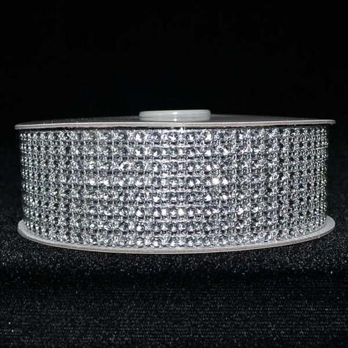 """1.5"""" x 10 Yards Silver Diamond Mesh Ribbon - 5 Rolls of Rhinestone Bling Ribbon"""