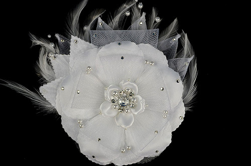 "6"" White Large Silk and Satin Single Flower with Pearl and Rhinestone - Pack of 6"