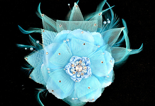 "6"" Turquoise Large Silk and Satin Single Flower with Pearl and Rhinestone - Pack of 6"