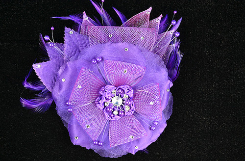 "6"" Purple Large Silk and Satin Single Flower with Pearl and Rhinestone - Pack of 6"