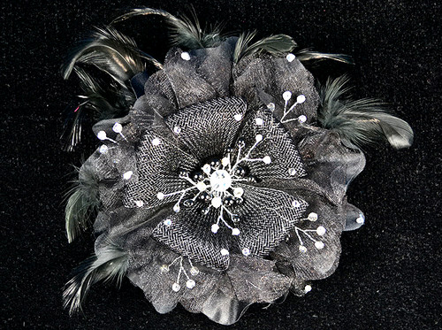 "6"" Black Large Silk Single Flower with Pearl and Rhinestone - Pack of 6"