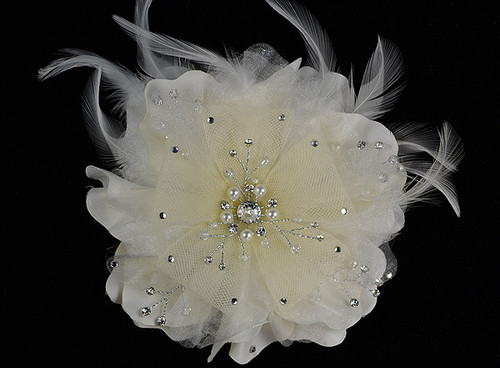 """6"""" Ivory Large Silk Single Flower with Pearl and Rhinestone - Pack of 6"""