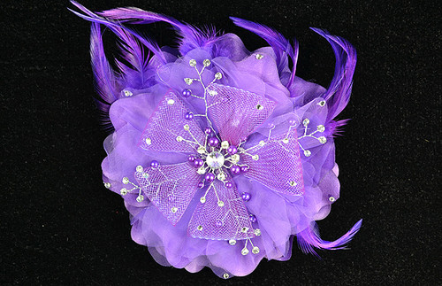 "6"" Purple Large Silk Single Flower with Pearl and Rhinestone - Pack of 6"