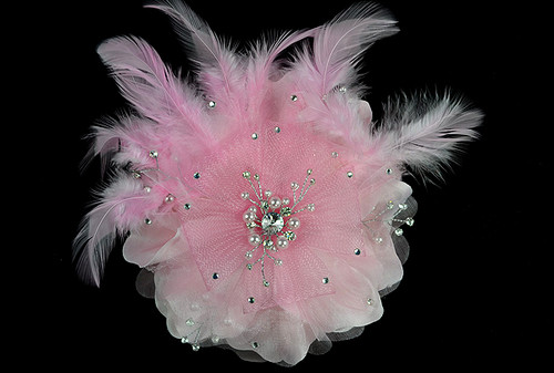 "6"" Pink Large Silk Single Flower with Pearl and Rhinestone - Pack of 6"