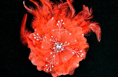 "6"" Red Large Silk Single Flower with Pearl and Rhinestone - Pack of 6"