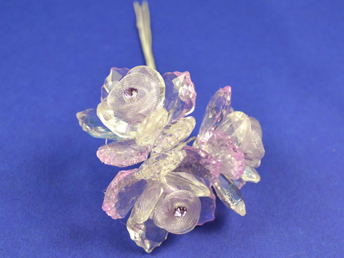 """1.5"""" Lavender Organza Flowers with Acrylic Leaves and Rhinestone - Pack of 36 Pieces"""