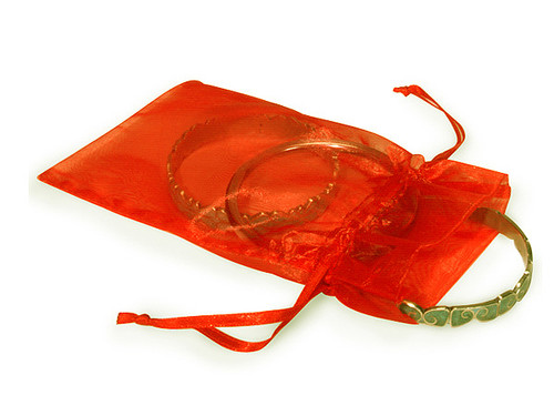 "4""x6"" Orange Organza Sheer Gift Favor Bags - Pack of 144"