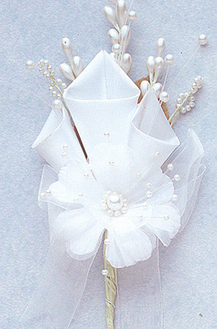 "7"" White Large Silk Calla Lily Corsage Flowers - Pack of 12"