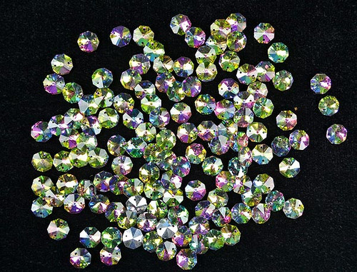 14mm Iridescent AB Green Crystal Octagon Prism Beads - Pack of 200