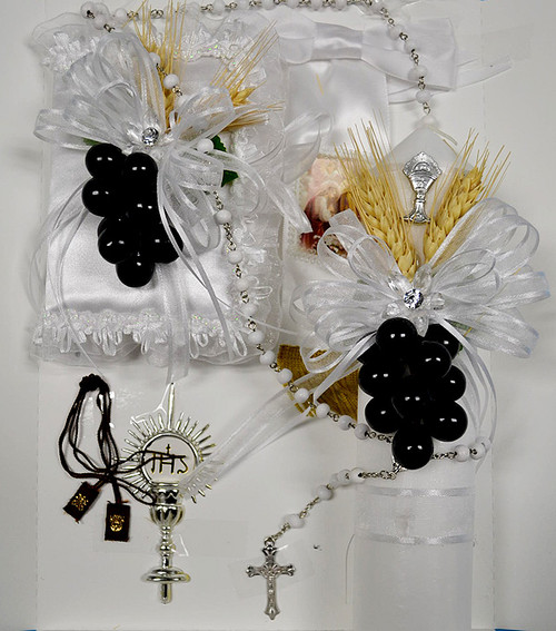 First Communion Candle Gift Set with Black Grapes - Pack of 6 Pieces