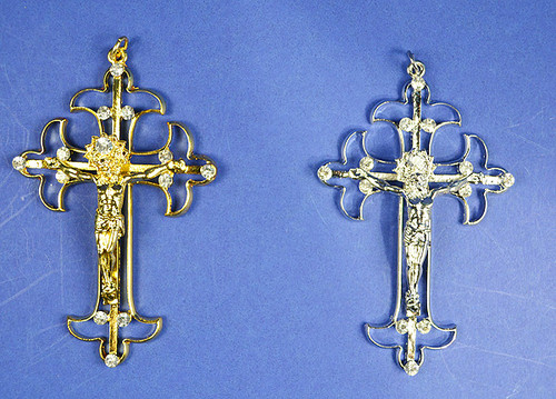 "4"" Catholic Metal Cross Pendants with Rhinestones - Pack of 10 Pendants"