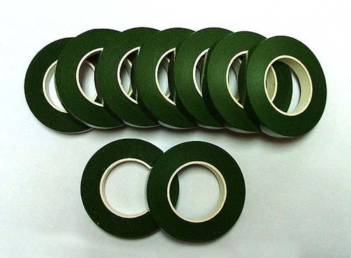 "1/2"" Wide x 90 Feet Long Dark Green Florist Tape - Pack of 12 Floral Tape Rolls"