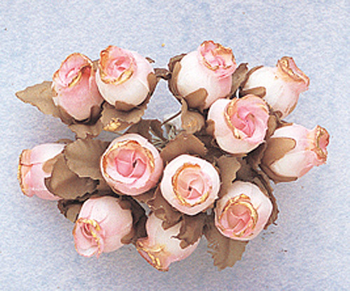 Pink Dry Polyester Rose with Gold Trim - Pack of 144