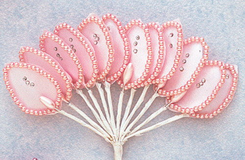 "1.5"" Pink Flower Leaf with Pearl and Rhinestone - Pack of 144"